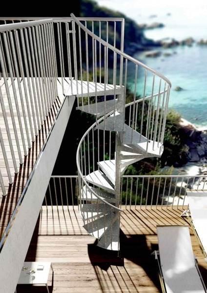 Escaleras madera caracol exterior